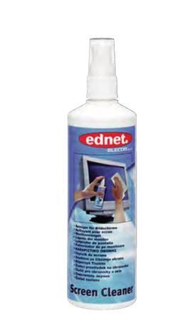 Ednet. - Speciální čistící prostředek na obrazovky, sklo plastové povrchy 250ml rozprašovač