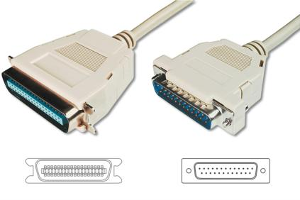 Digitus kabel pro tiskárnu DB25 / Centronix36, 5m