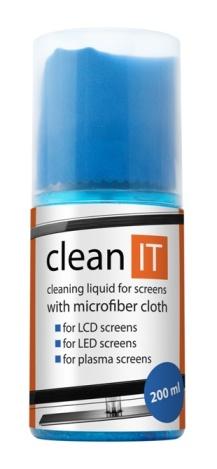 """""""CLEAN IT Čistící roztok na obrazovky s utěrkou ve víčku, 200ml"""""""