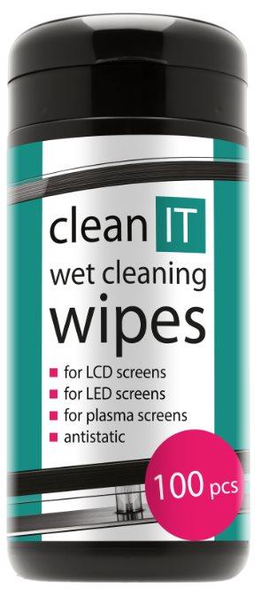 """""""CLEAN ITNavlhčené čistící ubrousky na obrazovky 100ks"""""""