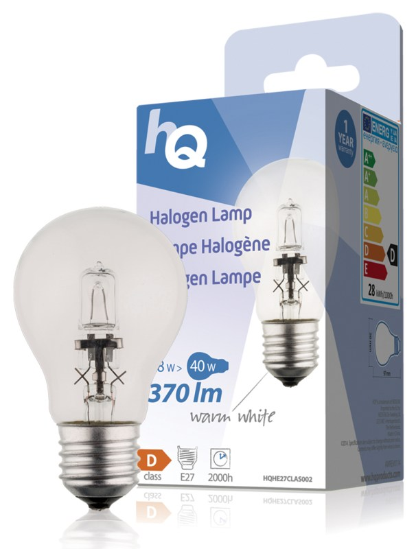 HQ halogenová žárovka Classic 28W/40W, E27, 370 lm