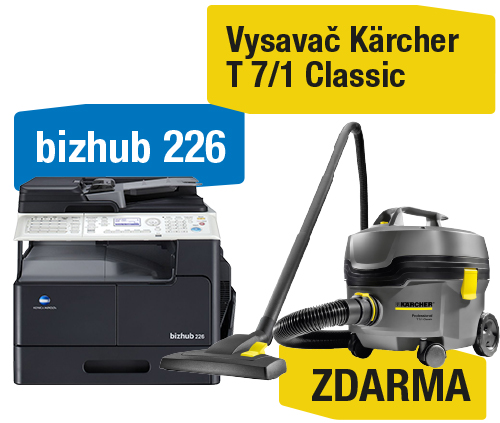 Konica Minolta Bizhub 226 set3 (Bizhub 226+OC-512+TN-118+NC-504+MK-749) + Kärcher vysavač T 7/1 Classic