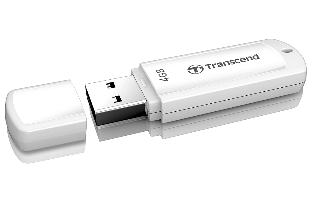 Transcend 4GB JetFlash 370, USB 2.0 flash disk, bílý